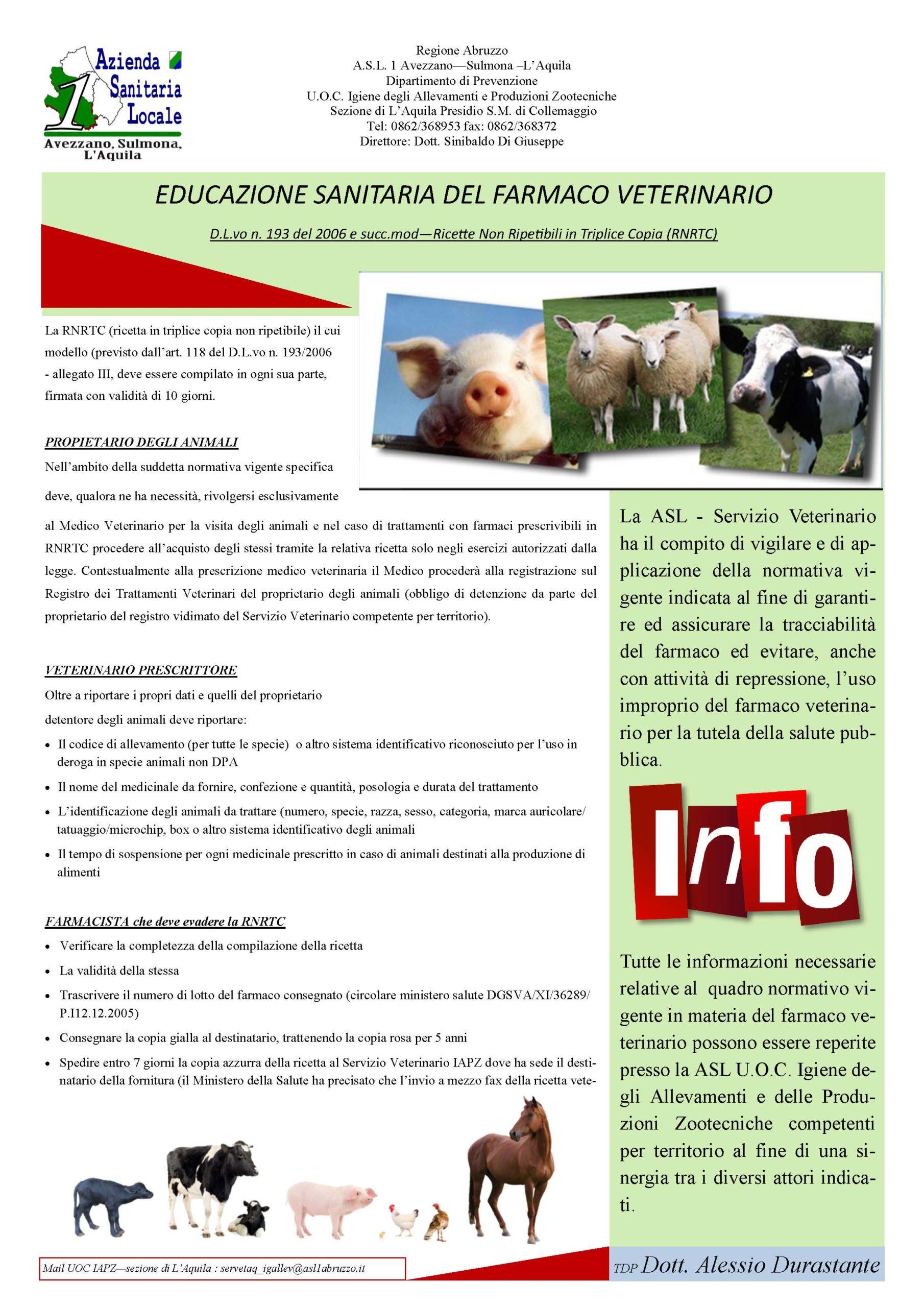 educazione sanitaria del farmaco veterinario locandina 2017